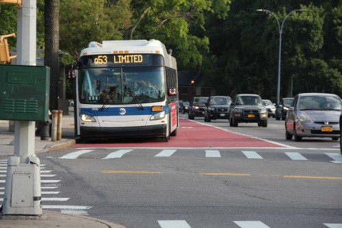 Color-Safe Bus Lane Pavement Markings on Woodhaven Blvd in Queens, NY